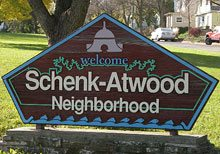 Schenk-Atwood neighborhood sign