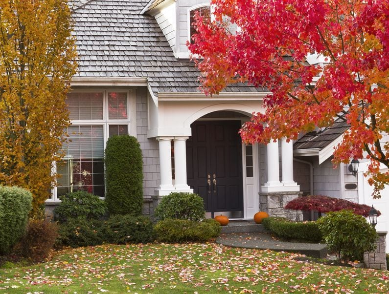 modern home surrounded by autumn season with maple leaves